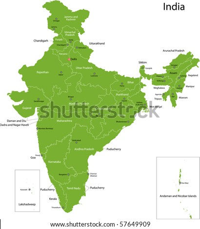 India map with states and capital cities - stock photo