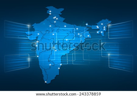 India Map World map News Communication delivery blue - stock photo
