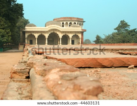India, New Delhi. Building inside the Red Fort - stock photo