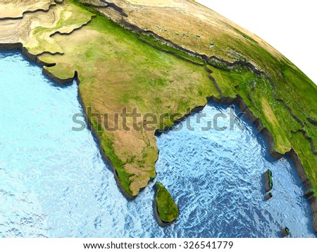India on highly detailed planet Earth with embossed continents and country borders. Elements of this image furnished by NASA. - stock photo