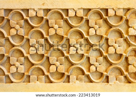 india ornate decoration background sandstone - stock photo