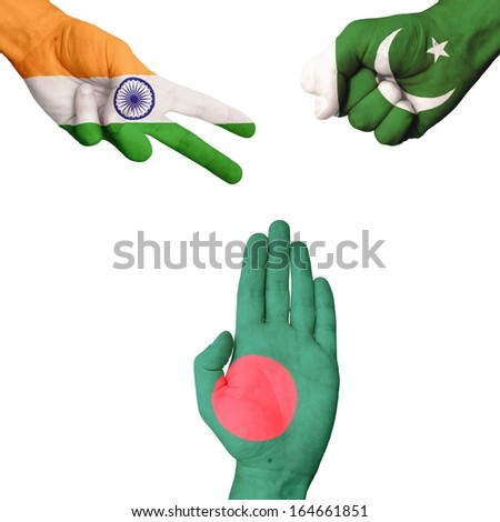 India Pakistan Bangladesh rock-paper-scissors  - stock photo