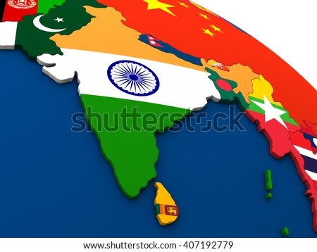India - political map of India and surrounding region with each country represented by its national flag. 3D Illustration. - stock photo