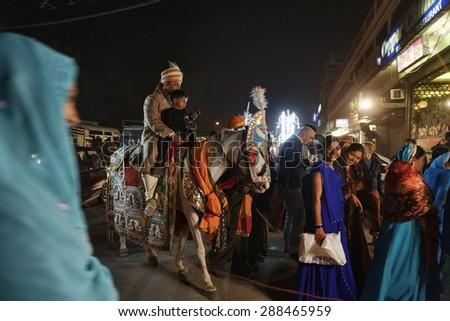 INDIA, Rajasthan, Jaipur; 23 january 2007, indian wedding at night - EDITORIAL - stock photo