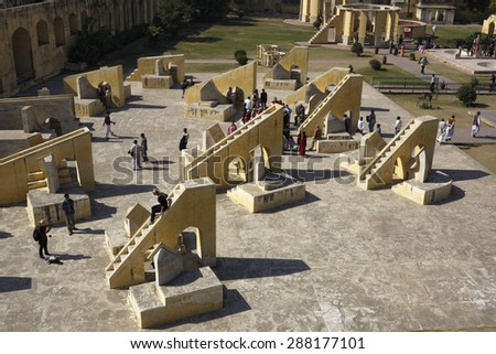 India, Rajasthan, Jaipur; 23 january 2007, people at the Astronomical Observatory (Jantar Mantar), built by Maharajah Jai Singh II in 1727-1734  - stock photo