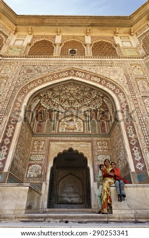 India, Rajasthan, Jaipur;  24 january 2007, the Amber Palace, 11 km outside Jaipur city - EDITORIAL - stock photo