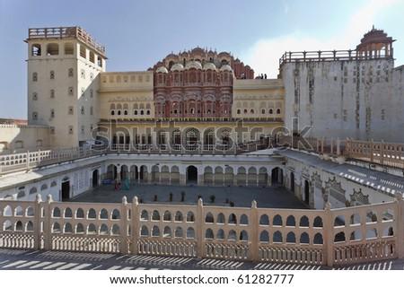 India. Rajasthan, Jaipur, Palace of Winds (Hawa Mahal), built in 1799 by Maharaja Sawai Pratap Singh, view of the rear facade - stock photo
