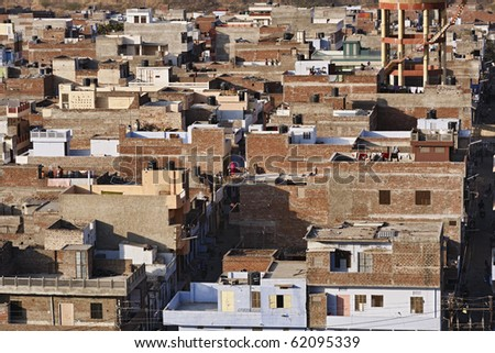 India, Rajasthan, Jaipur, panoramic view of the city from the Sun Temple (Surya Mandir)