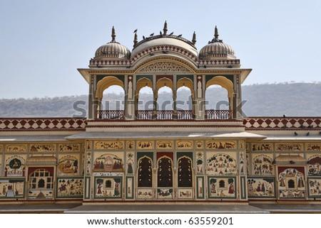 India, Rajasthan, Jaipur, Sisodia Rani Ka Bagh Palace, built in 1710 A.D. by Maharaja Sawai Jai Singh - stock photo