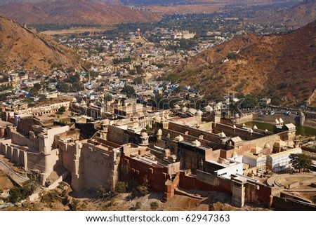 India, Rajasthan, Jaipur, the Amber Fort, view of the Amber Palace from the Amber Fort - stock photo