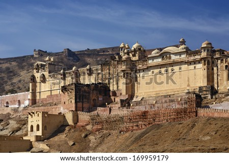 India, Rajasthan, Jaipur, view of the Amber Fort, all built in white marble and red sandstone, 11 km outside Jaipur city - stock photo