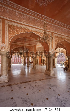 India, Rajasthan, Jaipur, view of the City Palace (built in 1729 - 1732 AD by Sawai Jai Singh)
