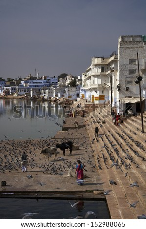 India, Rajasthan, Pushkar, view of the town and the sacred lake
