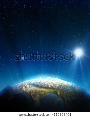 India real relief. Elements of this image furnished by NASA - stock photo