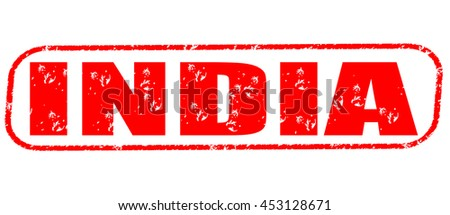 india red stamp on white background. - stock photo