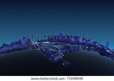 India relief city lights. Earth map from NASA - stock photo