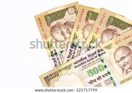 India rupee money banknote close-up on white