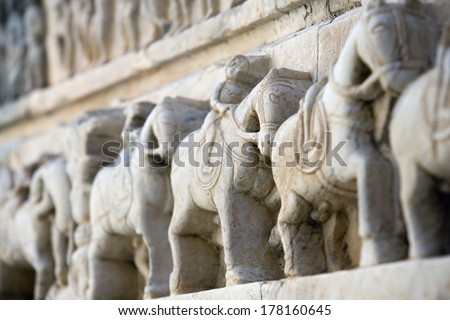 India - Stone carvings - stock photo
