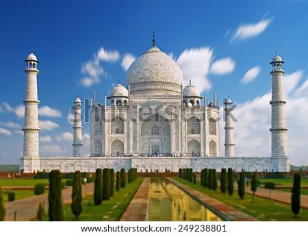 India, Taj Mahal. Indian palace Taj mahal world landmark - stock photo