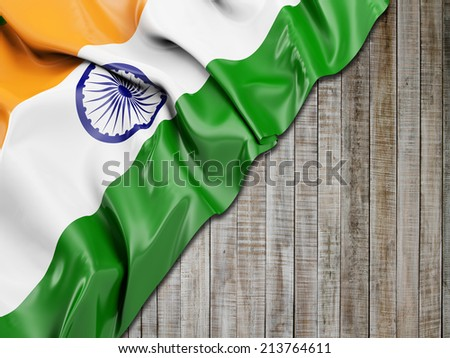 India Wavy Flag with vertical wood - stock photo