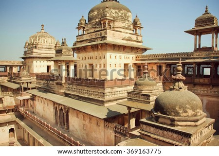 Indian architecture of 17th century, huge fortress Jahangir Mahal in Orchha, India.  - stock photo