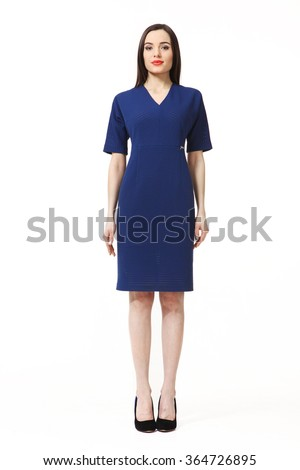 indian asian eastern brunette business executive woman with straight hair style in blue short sleeve dress high heels shoes full length body portrait standing isolated on white - stock photo