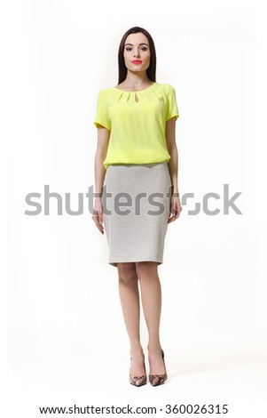 indian asian eastern brunette business executive woman with straight hair style in white t-shirt and skirt  high heels shoes full length body portrait standing isolated on white - stock photo