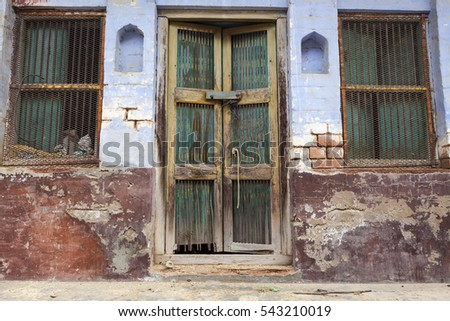 Indian authentic colorful old wooden door
