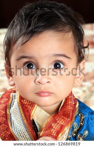 Indian Baby Boy in Traditional Indian Outfit - stock photo