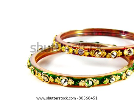 indian bangles on white background