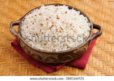 indian basmati rice, asian basmati rice, cooked basmati rice, cooked white rice, cooked plain rice with cumin - stock photo