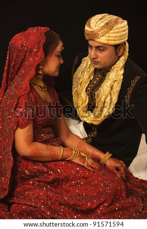 indian bride and groom - stock photo