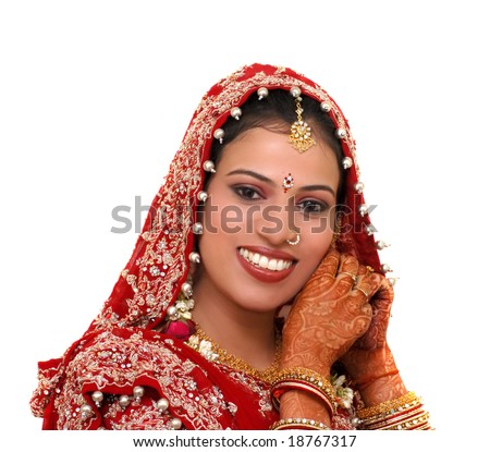 indian bride wearing jewelery