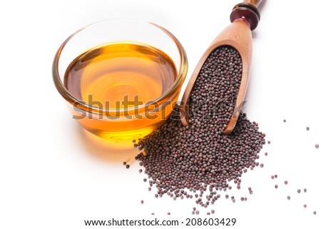 Indian Brown Mustard Seeds and oil  - stock photo