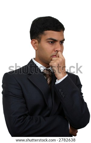 Indian business man in thinking pose (1) with clipping path - stock photo