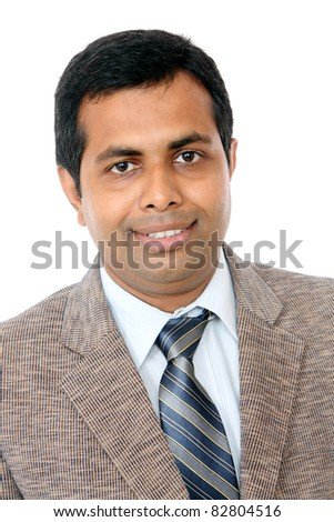 Indian business man portrait isolated on white. - stock photo