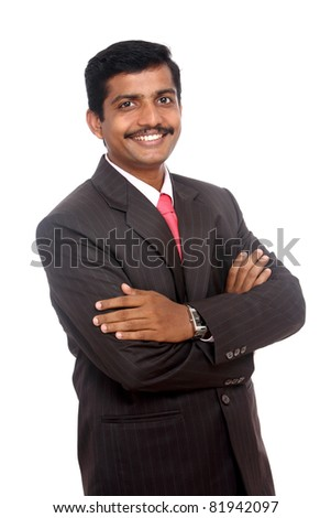 Indian business man posing to the camera on white background. - stock photo