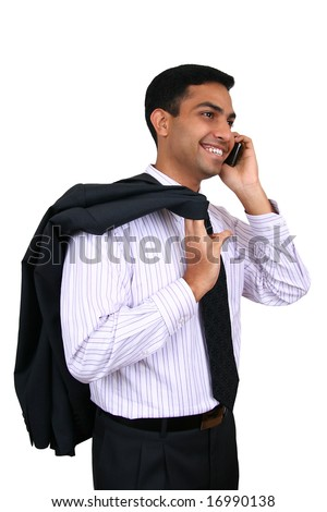 Indian Business man using cellphone - stock photo