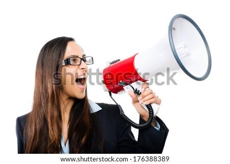 Indian business woman holding megaphone loudspeaker shouting announcement leadership - stock photo