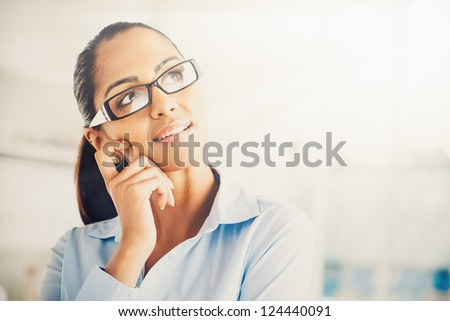 Indian business woman thinking future vintage grade