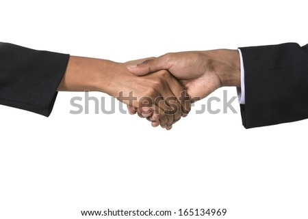 Indian Businessman and businesswoman shaking hands. Isolated on white background.