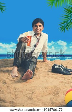 Indian businessman relaxing on beach with cold drinks or laptop, beach ball, talking on phone or with hands spread
