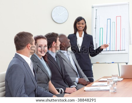Indian businesswoman reporting to finance graphs to her colleagues - stock photo