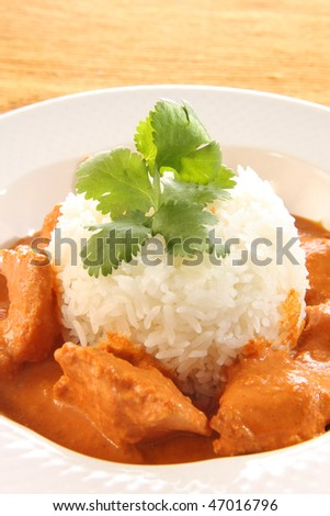 Indian butter chicken over rice. - stock photo