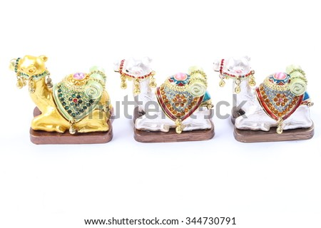 Indian Camel toy on white background