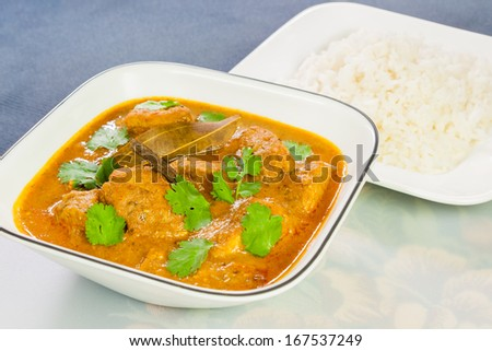 Indian Chicken Curry with Rice - Closeup view of delicious Indian chicken curry served with rice. The curry is prepared using onions, tomatoes, turmeric, garlic, ginger, cayenne and black pepper. - stock photo
