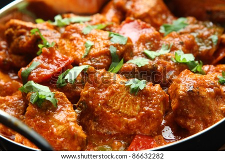 Indian chicken jalfrezi curry.