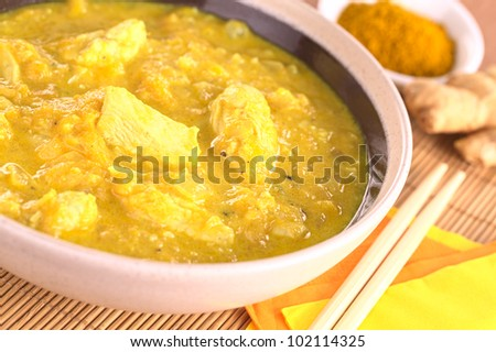 Indian chicken-mango curry dish in bowl with curry powder and ginger root in the back (Selective Focus, Focus on the horizontal chicken piece in the middle of the bowl) - stock photo