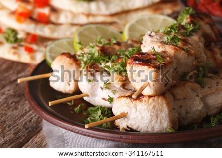 Indian chicken tikka kebabs on skewers macro on a plate. Horizontal - stock photo