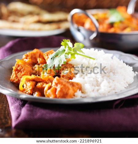 indian chicken vindaloo curry with basmati rice on plate - stock photo